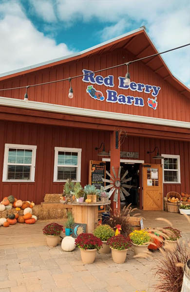 Red Berry Barn - Fall Outside
